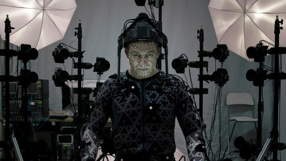 Andy Serkis, el actor que da vida al Líder Supremo Snoke, realizando el MoCap de su personaje.